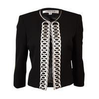 Kasper Women's Scoop Neck Open-Front Embroidered Blazer - Black - 2p