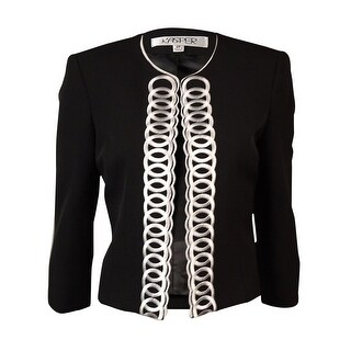 Kasper Women's Scoop Neck Open-Front Embroidered Blazer - Black - 2p