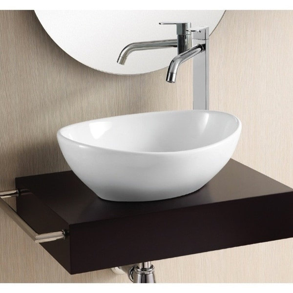 "Nameeks CA4047 Caracalla 15-3/8"" Ceramic Vessel Bathroom Sink - White"