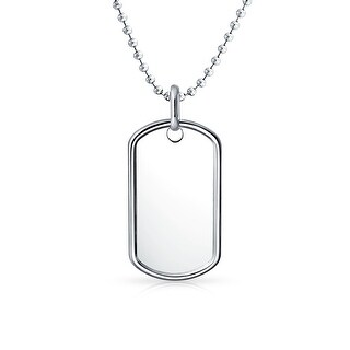 Bling Jewelry Small Dog Tag Pendant Sterling Silver Necklace