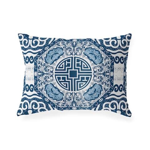 MING BLUE Indoor Outdoor Lumbar Pillow by Kavka Designs - 20X14