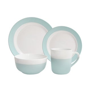 American Atelier Serene Green and White 16 Piece Dinnerware Set