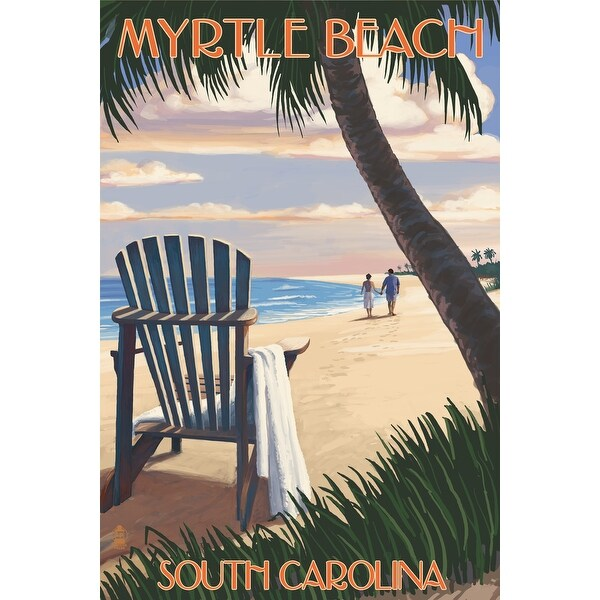 Myrtle Beach, SC - Adirondack & Palms - LP Artwork (Poker Playing Cards Deck)
