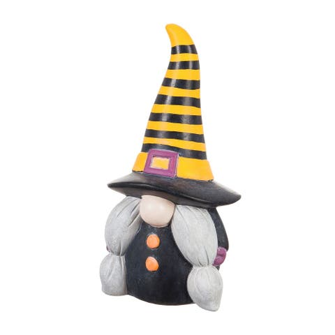 """9""""H Ceramic Witchy Gnome Garden Statuary with Orange and Black Striped Hat"""
