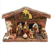11 Pieces Brown Traditional Nativity Figurine Set with Stable 9.75""