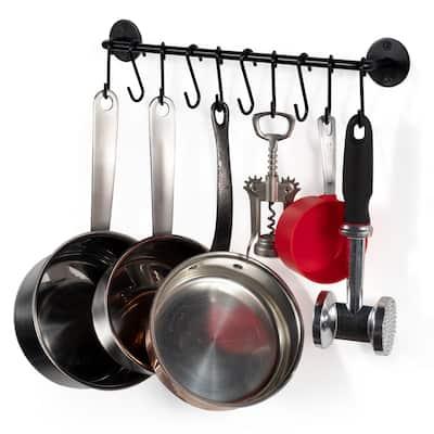 "Wallniture Cucina 16"" Kitchen Utensil Holder and Pot Organizer with 10 S Hooks"