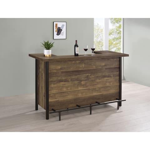 Rustic Oak Rectangular Storage Bar Unit