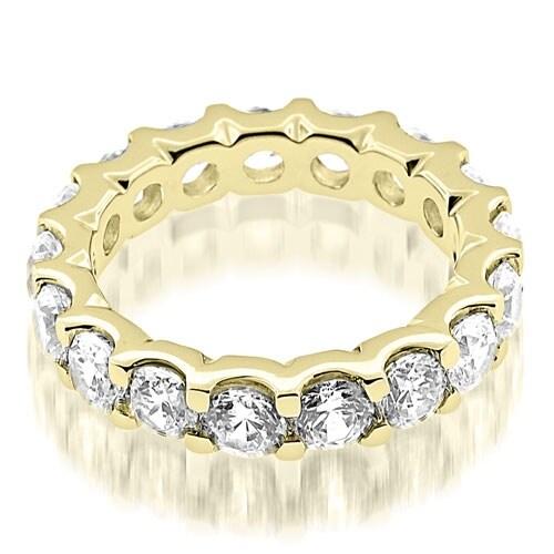 5.25 cttw. 14K Yellow Gold Stylish U-Prong Round Cut Diamond Eternity Band Ring