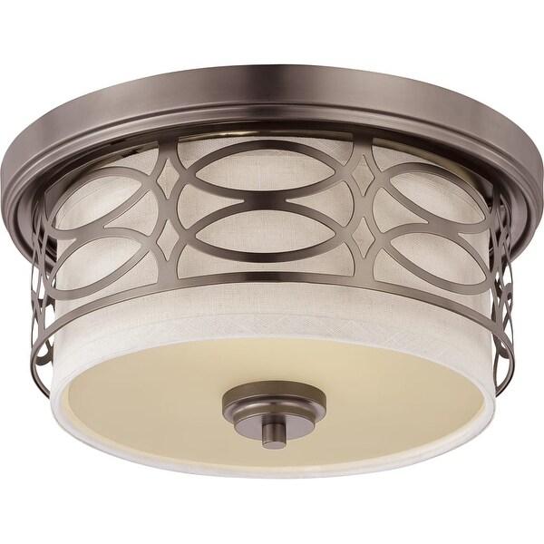 """Nuvo Lighting 60/4727 Harlow 2-Light 13-3/8"""" Wide Flush Mount Drum Ceiling Fixture - hazel bronze"""