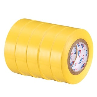 """PVC Electrical Insulating Tape Single Sided 21/32"""" Width 49ft 6mil Yellow 5pcs - 6 mil Thick, Yellow"""