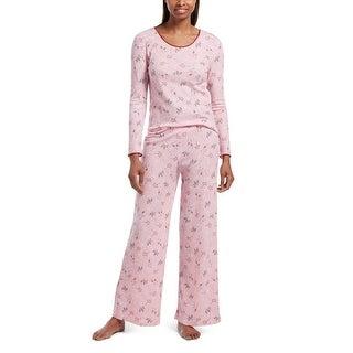 Hue Sleepwear Women's Cozy Cocktail Waffle Pajama Set With Headband