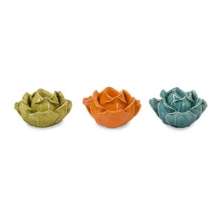 """Set of 3 Assorted Colors Ceramic Flower Candle Holders in Gift Box 5"""""""