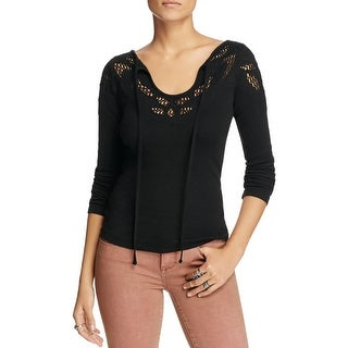 Free People Womens Casual Top Crochet Ribbed Knit