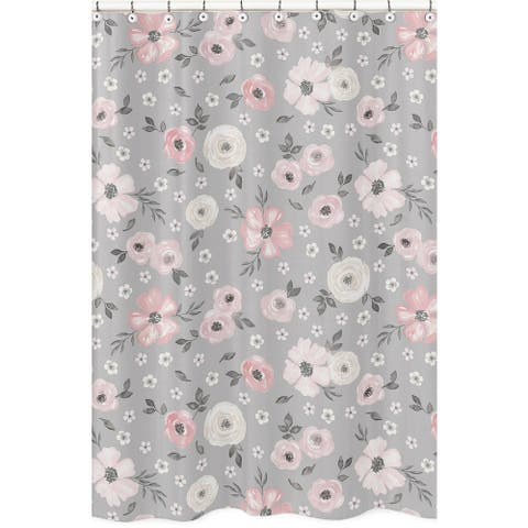 Grey Watercolor Floral Collection Bathroom Fabric Bath Shower Curtain - Blush Pink Gray White Shabby Chic Rose Flower Farmhouse