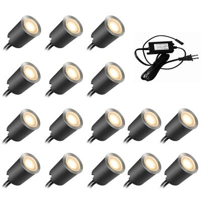 16-PCS 12V Low Voltage IP67 Waterproof Recessed LED Deck Light Kits with Protecting Shell for Outdoor Landscape Ground Lighting
