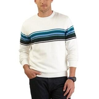 Nautica Sweater XX-Large Sail White Striped Crewneck Pullover Cotton - 2XL