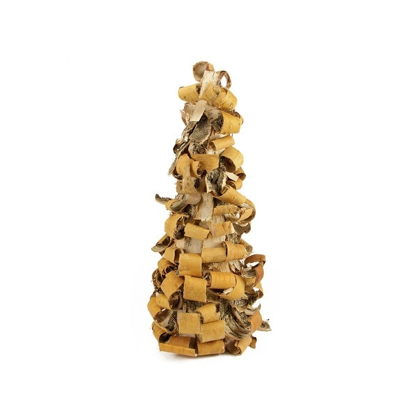 """16"""" Rustic Earth Tone Tree Bark Inspired Table Top Christmas Cone Tree - brown"""