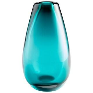 "Cyan Design 09494  Ocean 7"" Diameter Glass Vase - Blue"