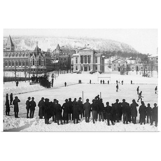 """Vintage image of ice hockey game, Montreal"" Poster Print"