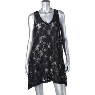 J Valdi Womens Lace Tie Back Dress Swim Cover-Up