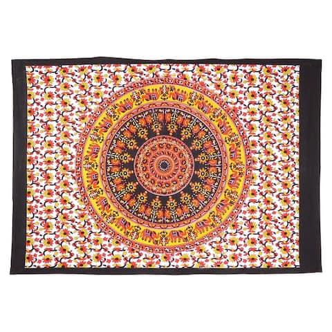 Boho Elephant Mandala Cotton Tapestry Wall Hanging Decor Poster Throw living Room Decorative Tapestries