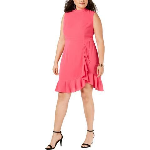Betsey Johnson Womens Plus Cocktail Dress Ruffle Hem Mock Neck - Watermelon Bliss