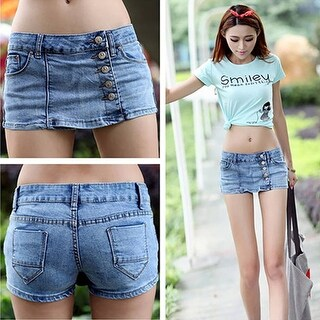 Women's Fashion Summer Sexy Slim Blue Denim Fabric Jeans Shorts Hot Pants Skirt