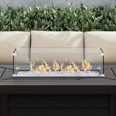 """Corvus 27.9"""" x 11.6"""" Rectangular Tempered Glass Wind Guard For Fire Pits"""