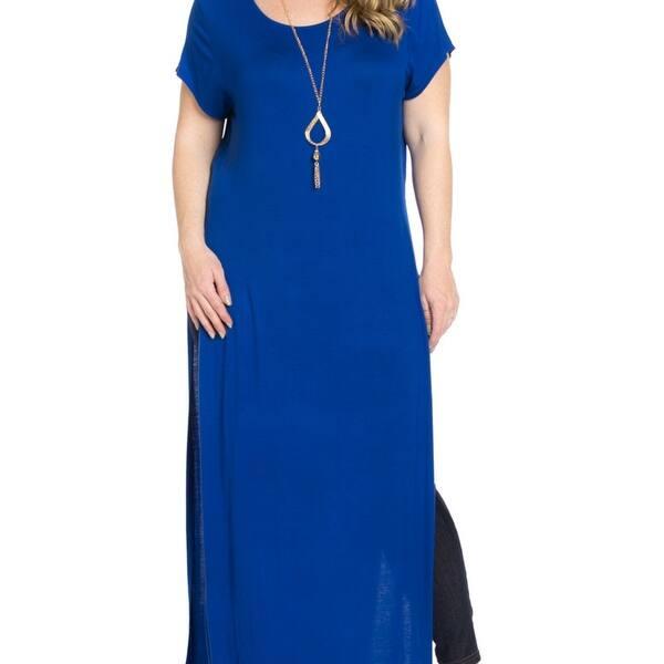 Shop Side Slit Royal Blue Maxi Dress Plus Size - Royal Blue ...