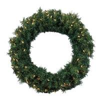 "36"" Pre-Lit Green Cedar Pine Artificial Christmas Wreath - Clear Lights"