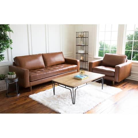 Abbyson Holloway Mid Century 2 Piece Top Grain Leather Sofa and Armchair Set
