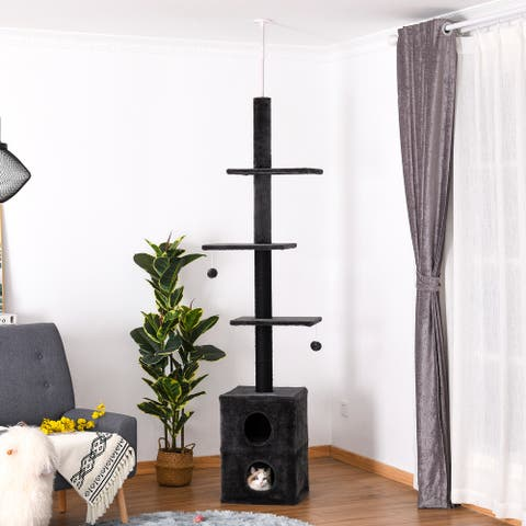 """PawHut Cat Tree Floor to Ceiling Condo w/ Jute Scratching Post Dangling Ball Adjustable 82.75"""" H -94.5"""" H, Grey"""