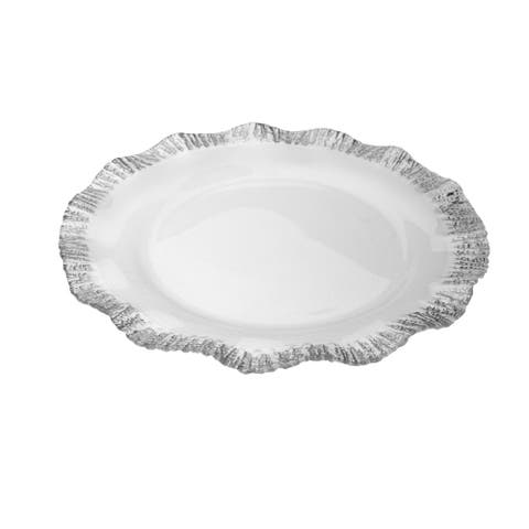 """Alice Pazkus Set Of Four 12"""" Clear Chargers With Silver Scalloped Design"""