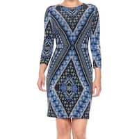 Karen Kane Blue Womens Size Medium M Diamond Print Sheath Dress