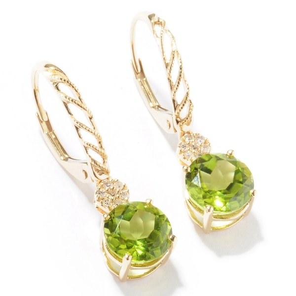 14KT Gold Peridot and Diamond Earring. Opens flyout.