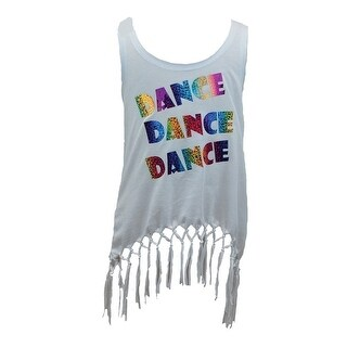 "Reflectionz Girls White ""Dance Dance Dance"" Glitter Fringe Tank 8-10"