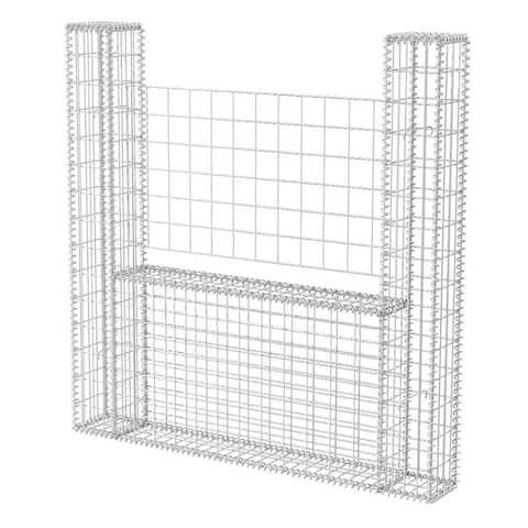 "vidaXL Gabion Basket U-Shape Galvanised Steel 63""x7.9""x59.1"""