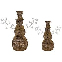 Set of 2 Brown Natural Jute Rattan Lighted Snowmen Christmas Decorations 36""