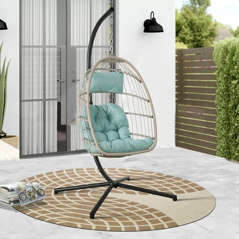 Outdoor Wicker Hanging Basket Cushioned Swing Chair