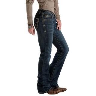 Cruel Girl Western Denim Jeans Women Blake Crosshatch Dark - Dark Wash