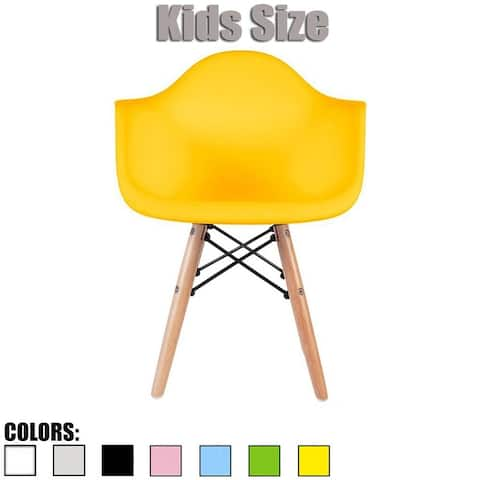 2xhome Plastic Armchair with Arms Designer For Kitchen Dining Home Desk Classroom Student Child Children Yellow School