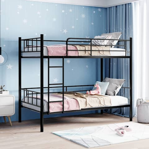 Merax Twin Over Twin Metal Bunk Bed,Divided into Two Beds