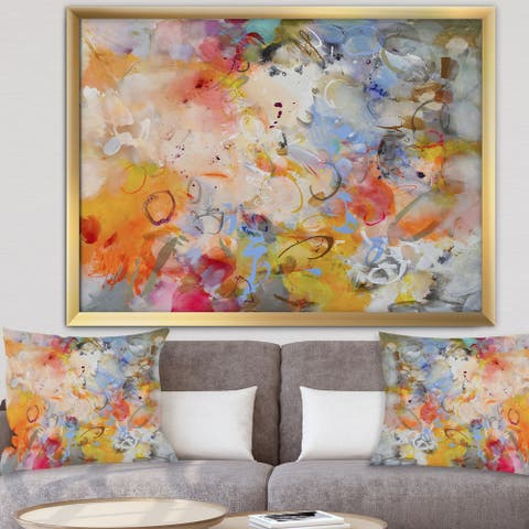 Designart 'Blue And Yellow Color Whirls' Modern & Contemporary Premium Framed Art Print
