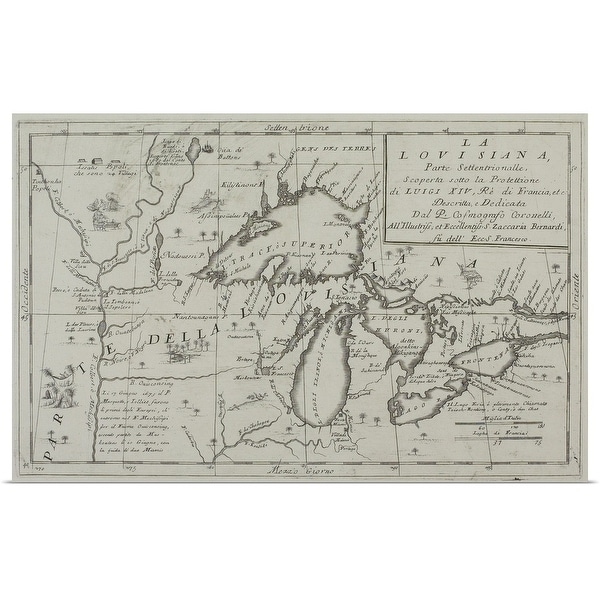 """Map of the Great Lakes, North America"" Poster Print"