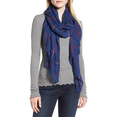 Leith Women's Blue Multi Scarf One Size Dual Grid Oblong Printed