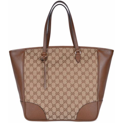 e436c471166e Gucci Women's 449242 Beige Brown Large Bree GG Guccissima Purse Handbag Tote  - Beige/Brown