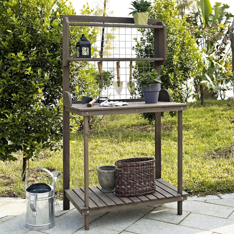 Dark Brown Wood Potting Bench Garden Planting Table with Bottom Shelf