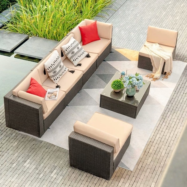 Homall 7 Pieces Outdoor Sectional Sofa Patio Furniture Sets Manual Weaving Wicker Rattan Patio Conversation Sets