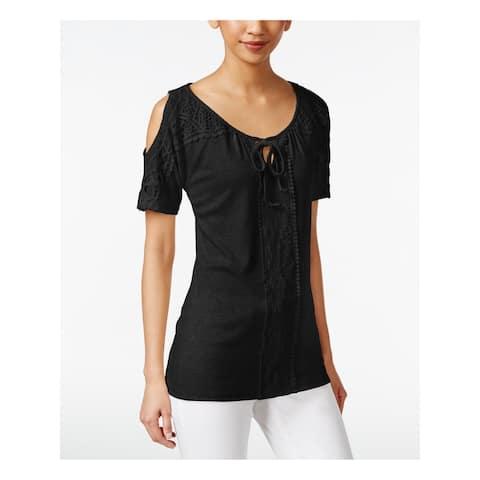 STYLE & COMPANY Black Short Sleeve Tunic Top XL