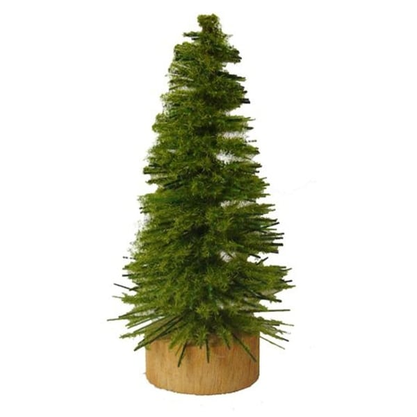 "3"" x 1.5"" Mini Moss Green Pine Artificial Village Christmas Tree in Wood Base - Unlit"